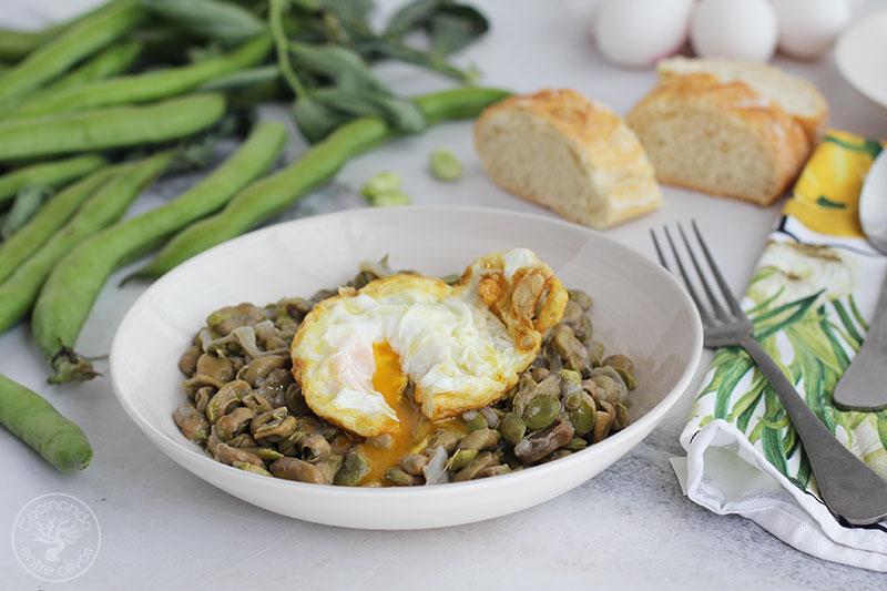 Receta de Habas con cebolleta y huevos fritos