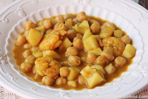 Garbanzos con choco y langostinos paso a paso for Cocinando entre olivos navidad