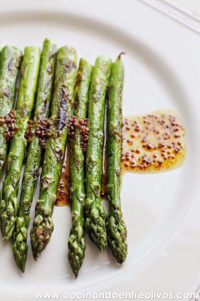 Espárragos verdes a la plancha con vinagreta de mostaza y miel ...