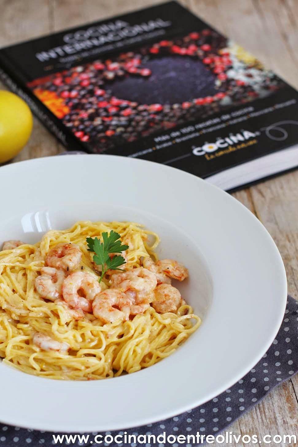 Espaguetis al lim n con gambas y mascarpone receta paso a paso cocinando entre olivos - Espagueti con gambas y nata ...