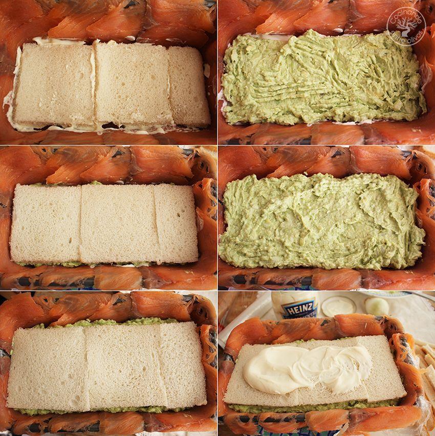 Cómo hacer Pastel de salmón ahumado, aguacate y pan de molde paso 10
