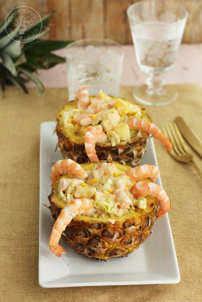 Piña rellena langostinos www.cocinandoentreolivos.com (1)