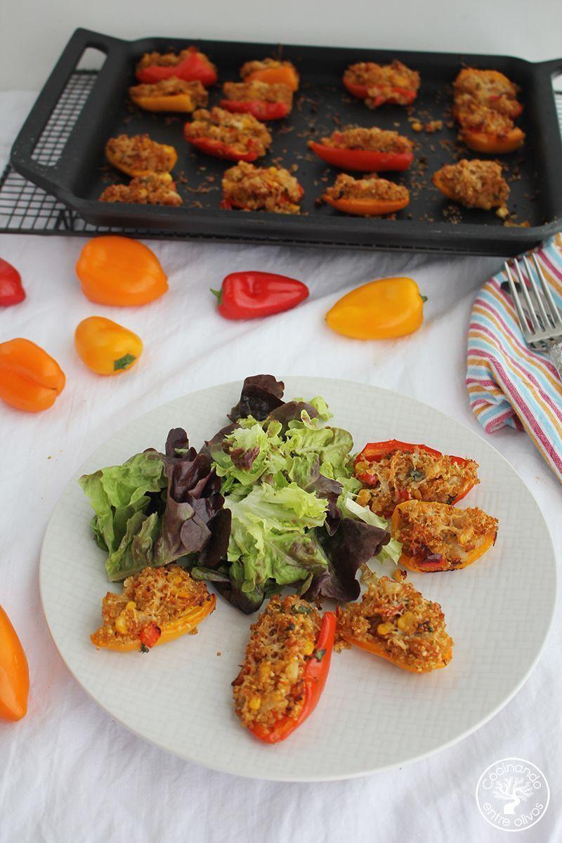 Minipimientos rellenos de quinoa www.cocinandoenetreolivos.com (1)