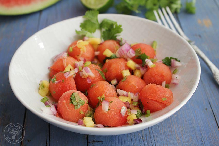 Ensalada sandia y pico de gallo con aove www.cocinandoentreolivos.com (2)