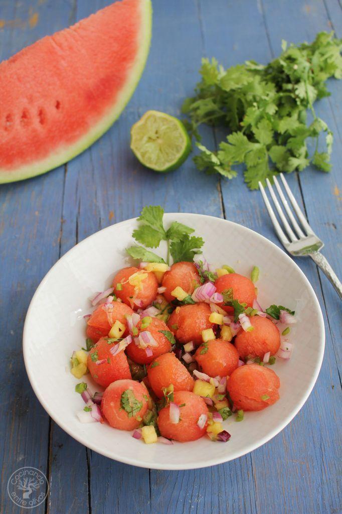 Ensalada sandia y pico de gallo con aove www.cocinandoentreolivos.com (3)