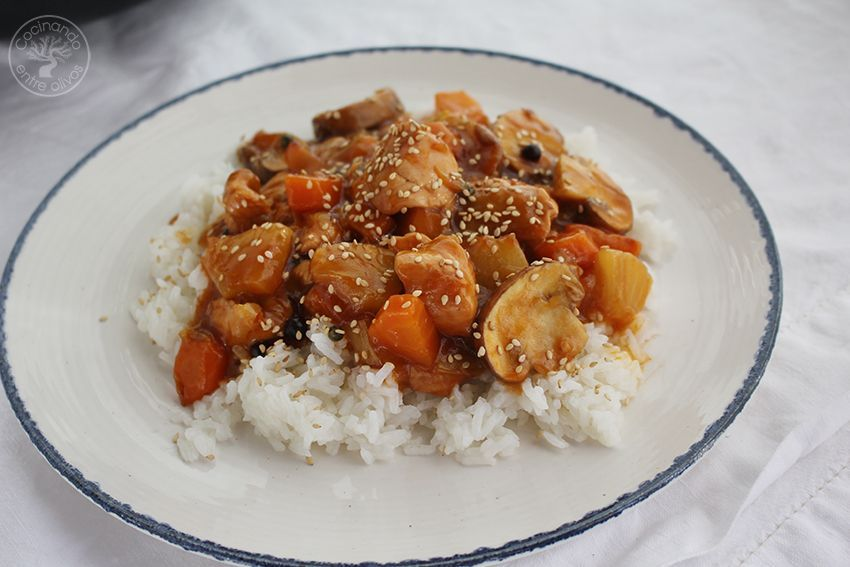 Pavo agridulce con arroz www.cocinandoentreolivos.com (1)
