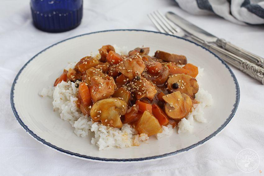 Pavo agridulce con arroz www.cocinandoentreolivos.com (2)