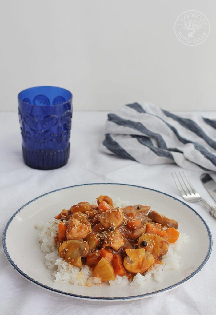 Pavo agridulce con arroz www.cocinandoentreolivos.com (3)