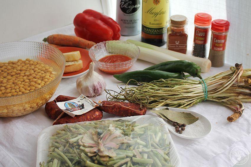 Garbanzos con tagarninas y chorizo www.cocinandoentreolivos.com (1)