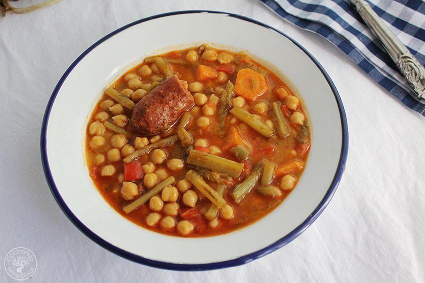 Garbanzos con tagarninas y chorizo www.cocinandoentreolivos.com (17)