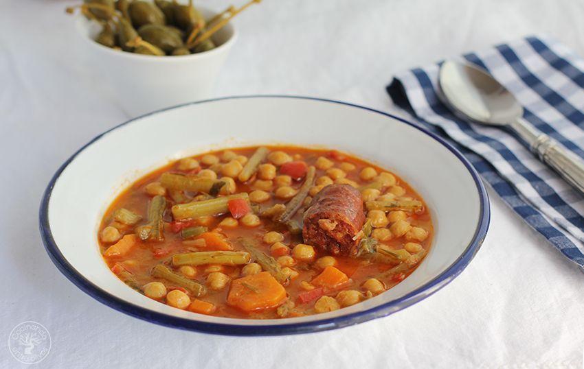 Garbanzos con tagarninas y chorizo www.cocinandoentreolivos.com (19)