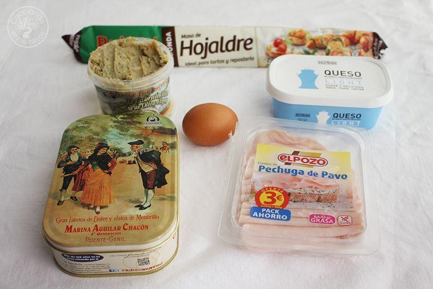 Mini croissants o cruasanes de membrillo, queso azul y jamon york (5)
