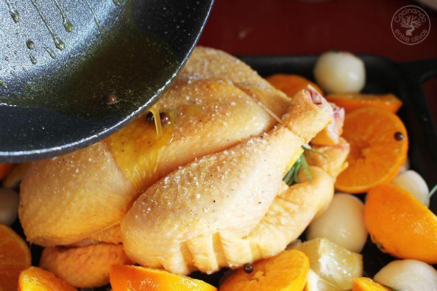 Pollo asado al horno con mandarinas www.cocinandoentreolivos.com (12)
