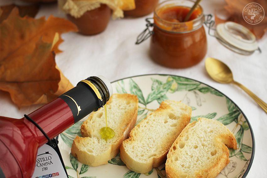 Mermelada de calabaza, canela y aceite de oliva virgen extra www.cocinandoentreolivos.com