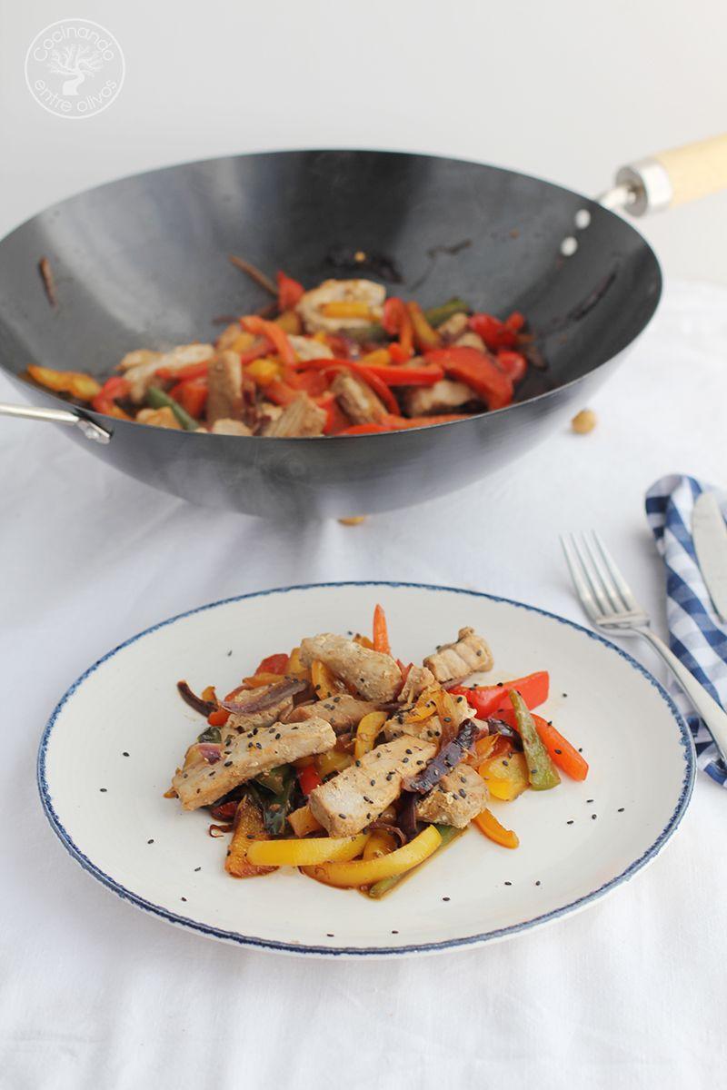 Wok de atun y pimientos www.cocinandoentreolivos.com (3)