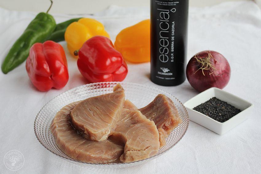Wok de atun y pimientos www.cocinandoentreolivos.com (4)