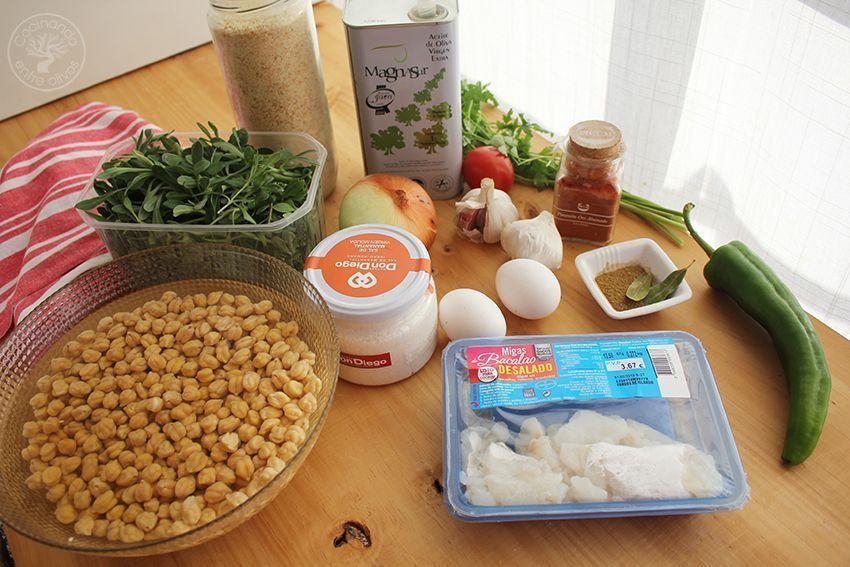 Potaje de garbanzos, collejas y panecillos de bacalao Receta (2)