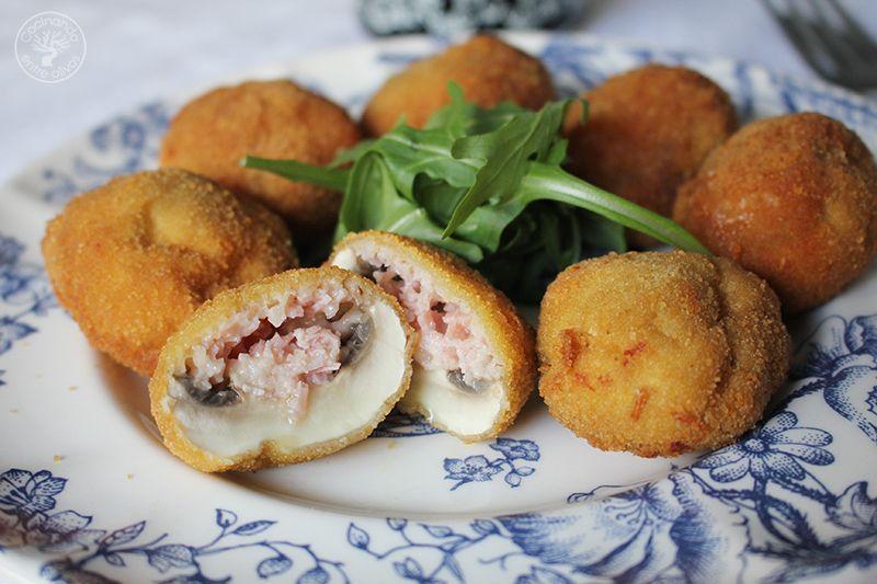 Champiñones rellenos de jamón york y queso receta www.cocinandoentreolivos.com (6)