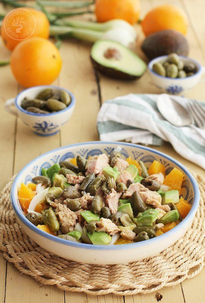 Ensalada de naranja, aguacate, atún y aceitunas receta (1)