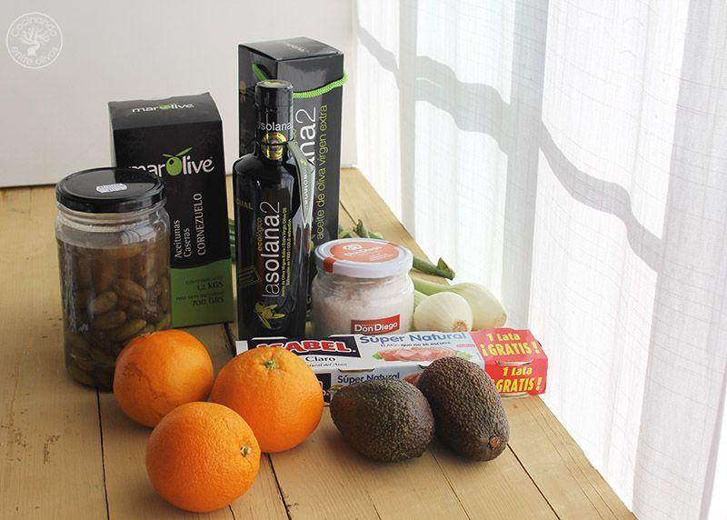 Ensalada de naranja, aguacate, atún y aceitunas receta (2)
