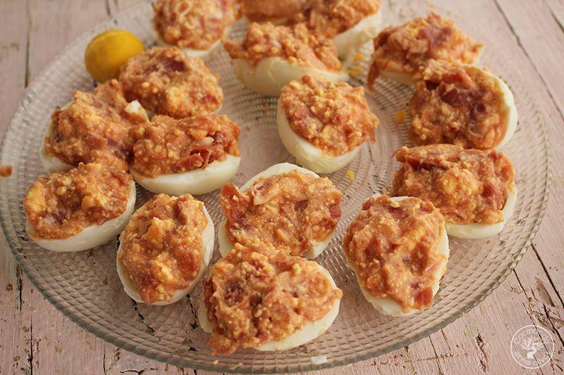 Huevos rellenos de salmorejo y jamon receta (18)
