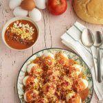 Huevos rellenos de salmorejo y jamon receta (22)