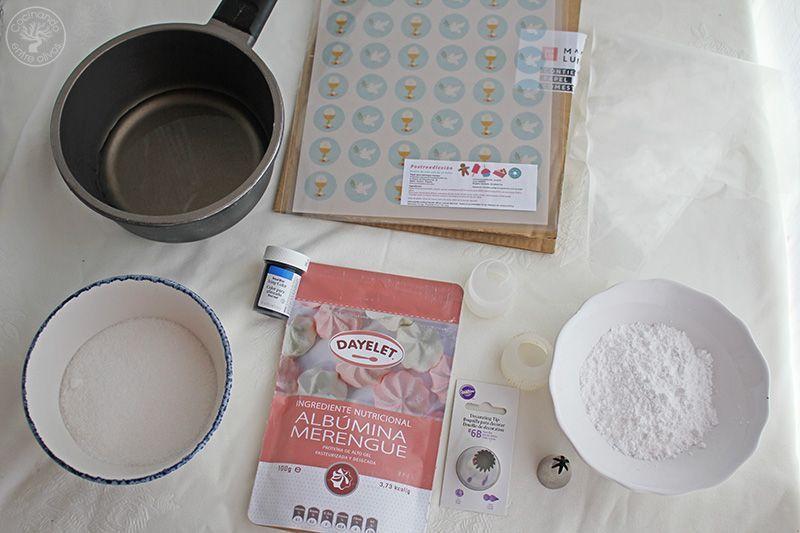 Merengues con papel decorativo Comunión www.cocinandoentreolivos.com (1)