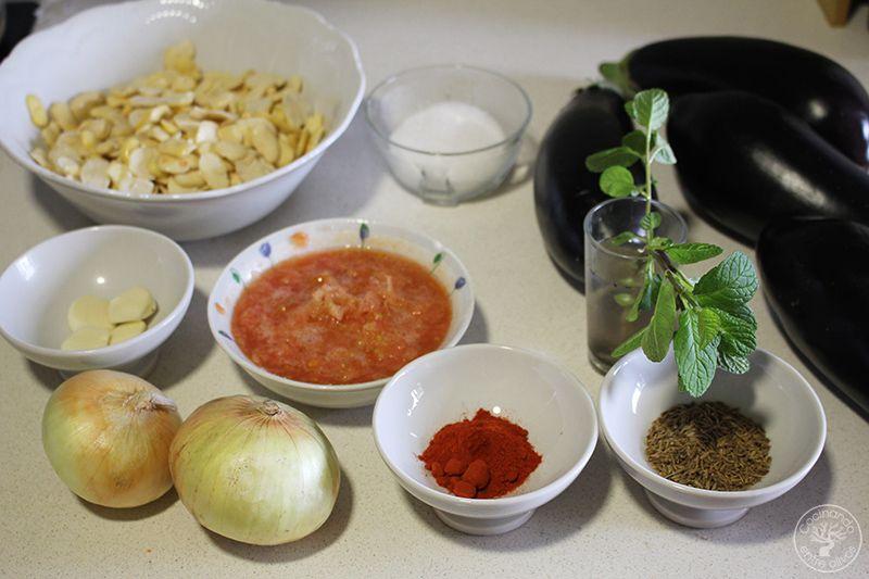 Potaje de berenjenas y habas secas receta Jaén (2)