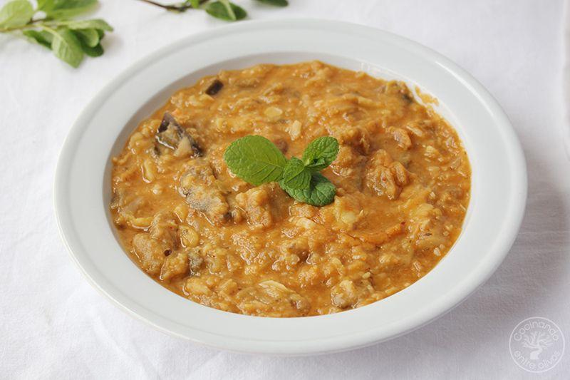 Potaje habas secas y berenjenas cocina Jaén