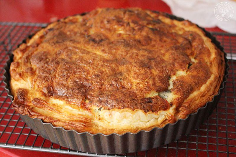 Tarta salada de peras, queso azul y puerros (1)