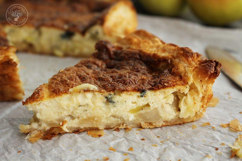Tarta salada de peras, queso azul y puerros (7)
