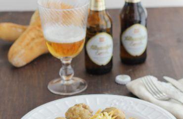Albondigas en salsa de cerveza y queso,