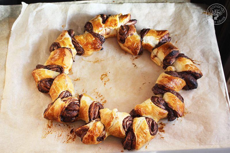 Como hacer una Corona de Adviento de hojaldre y chocolate (15)