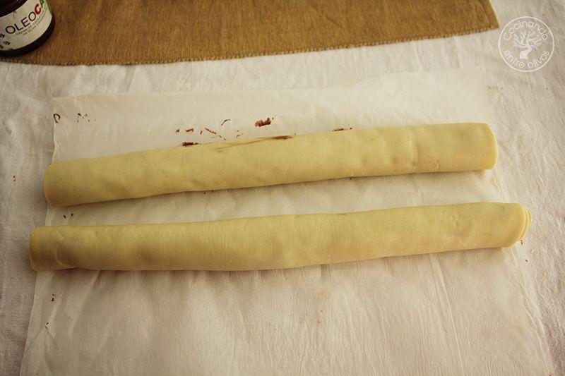 Como hacer una Corona de Adviento de hojaldre y chocolate (6)