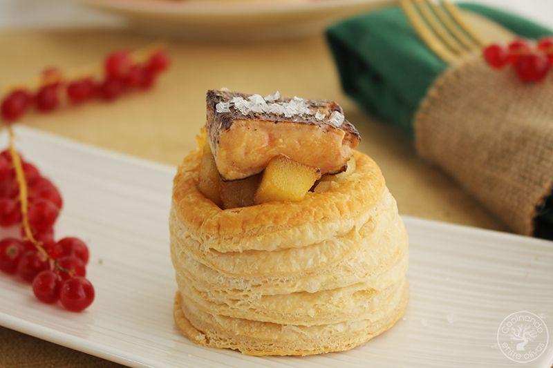 Volovanes rellenos de manzana caramelizada y foiegras (1)