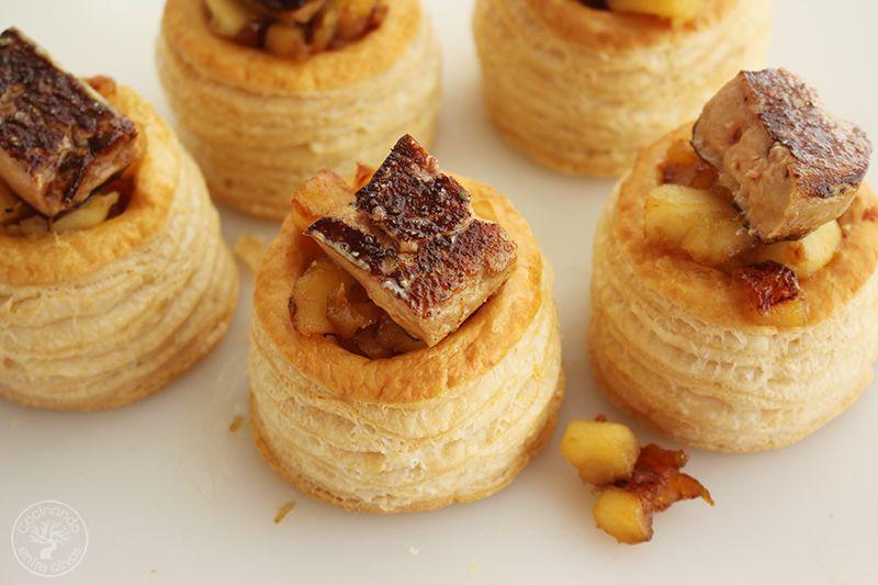Volovanes rellenos de manzana caramelizada y foiegras (2)