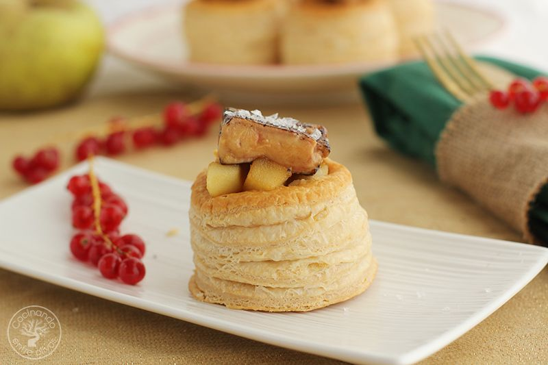 Volovanes rellenos de manzana caranelizada y foie gras (3)