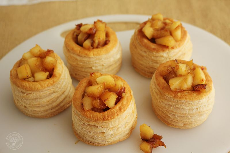 Volovanes rellenos de manzana caranelizada y foie gras (9)