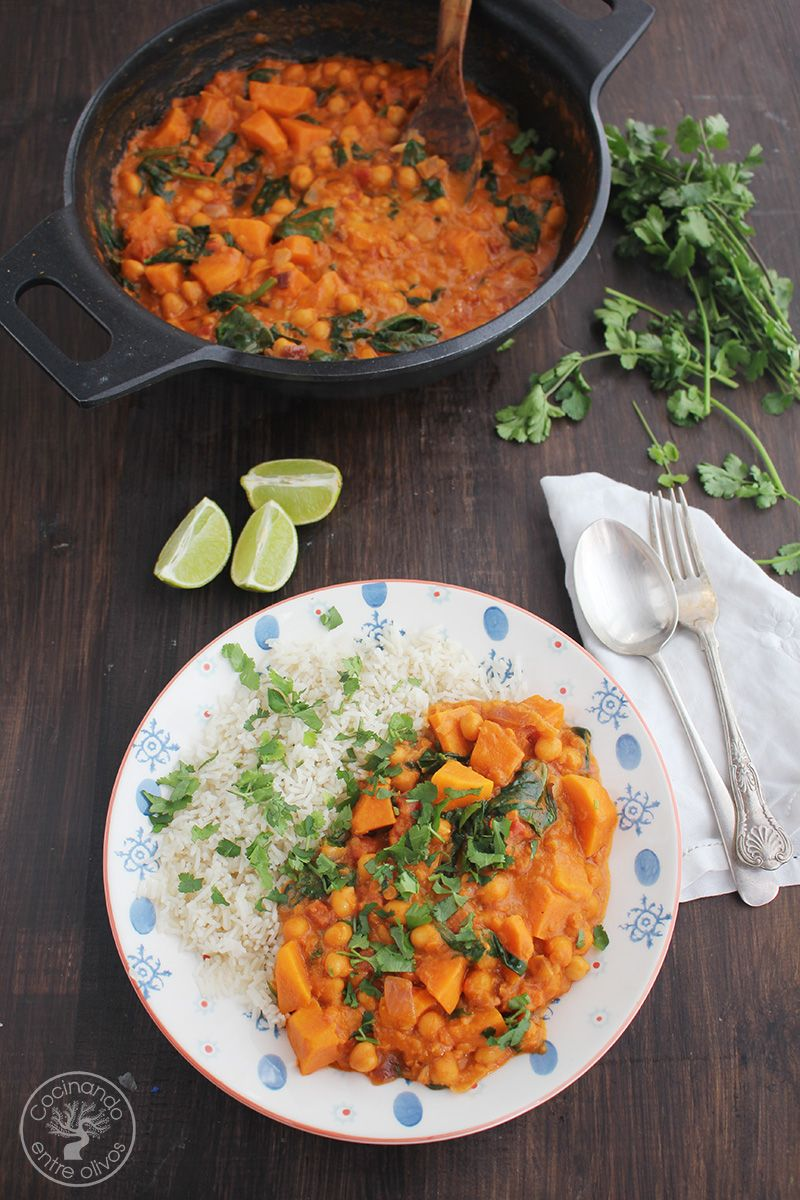 Curry vegetal con batatas y espinacas (5)