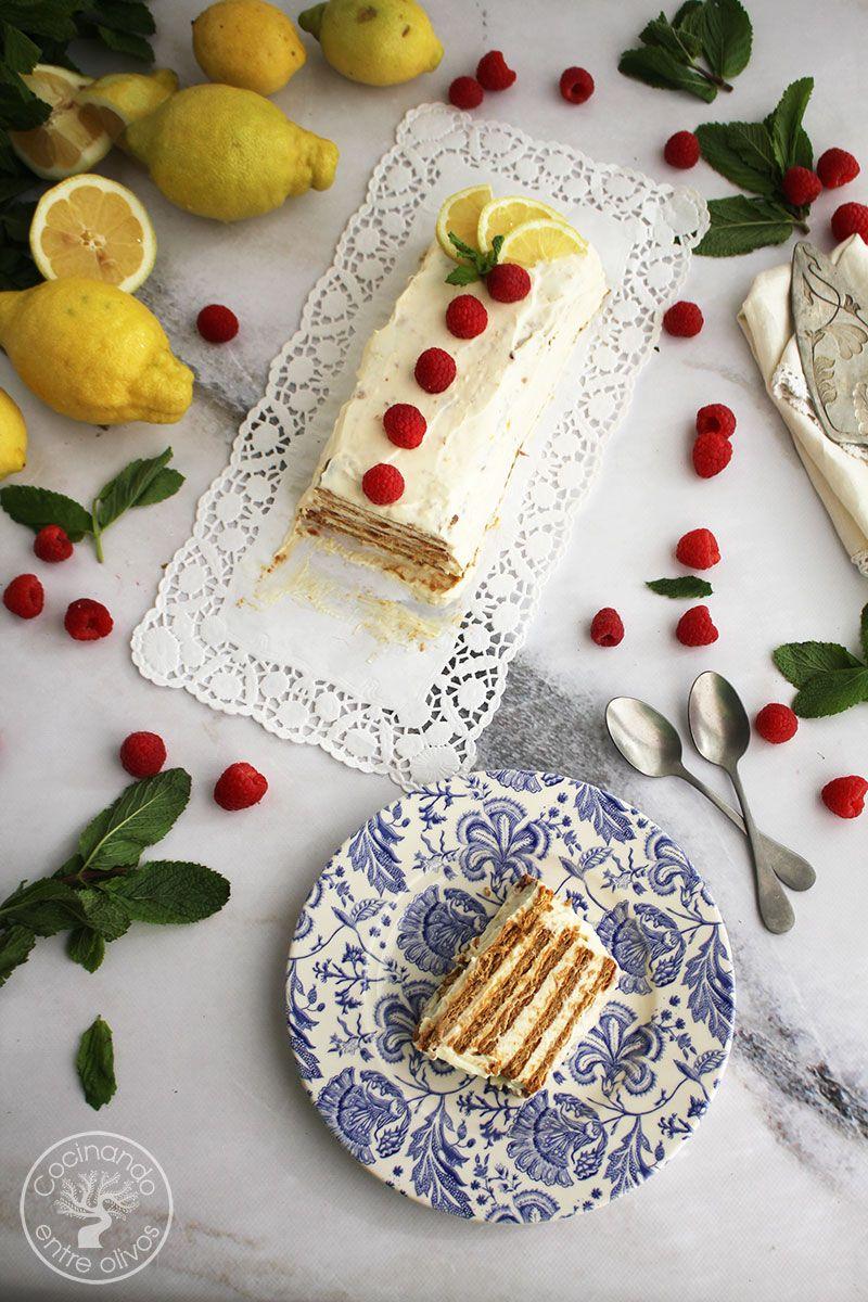 Tarta de limon con galletas, queso y leche condensada