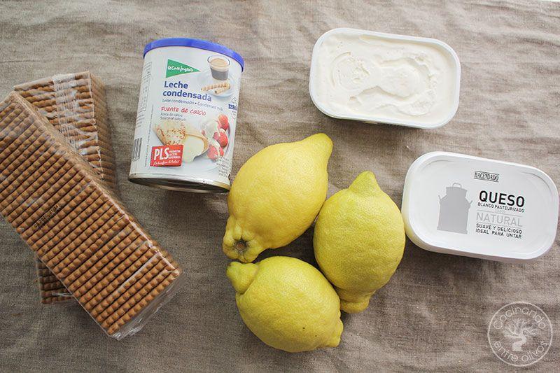 Tarta de limón con galletas, queso y leche condensada