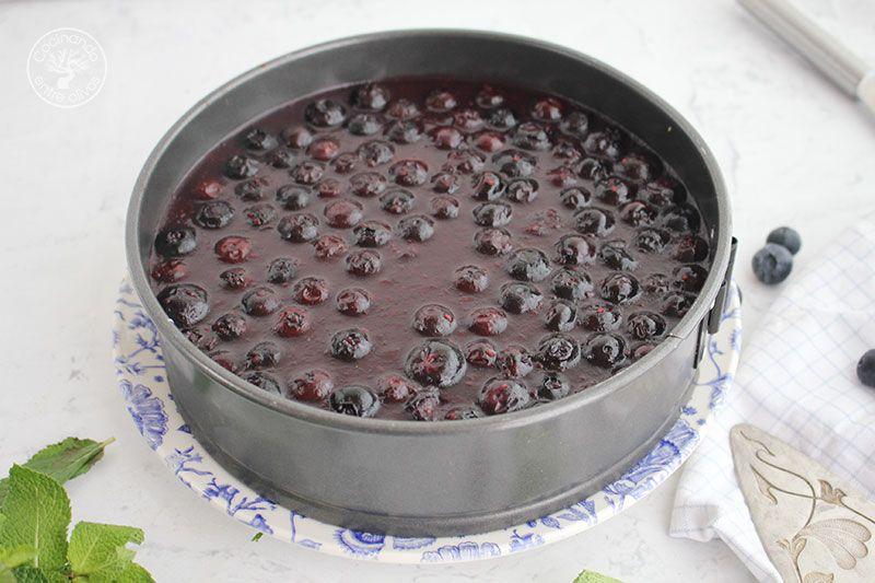 Tarta de requesón con arándanos receta