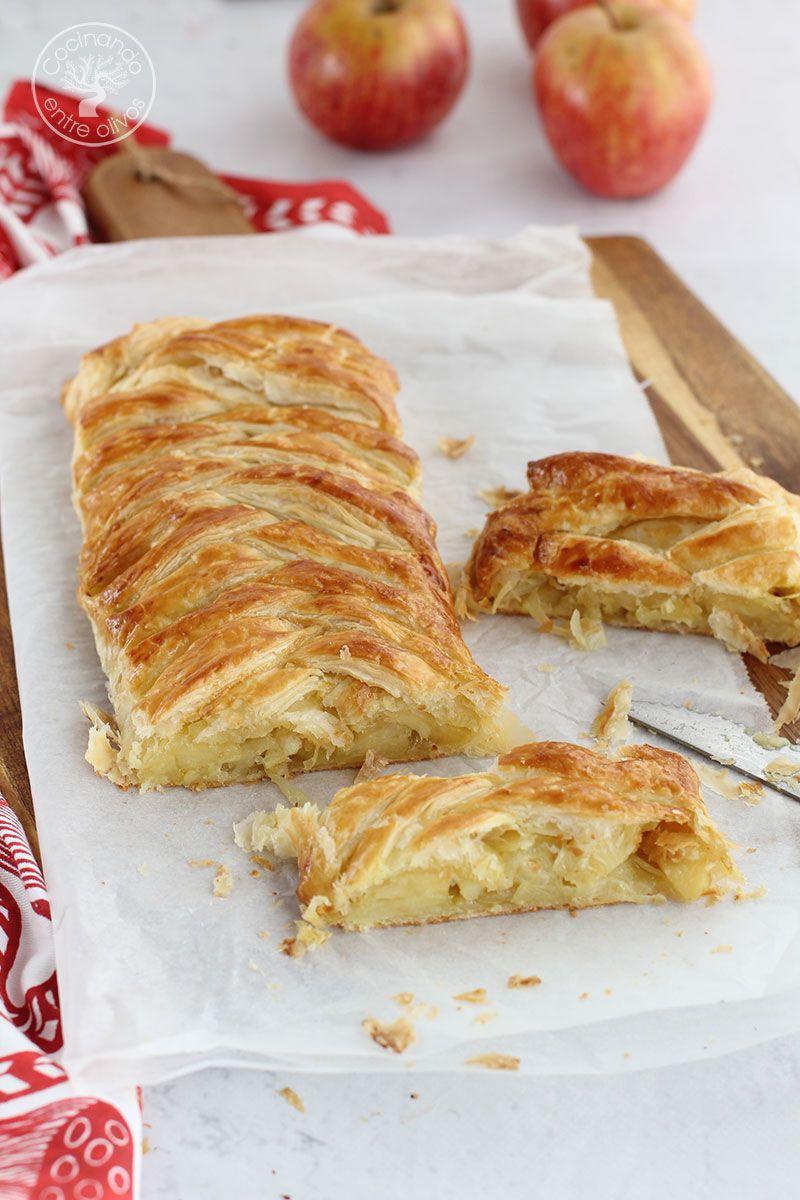 Trenza de hojaldre rellena de queso, cebolla y manzana
