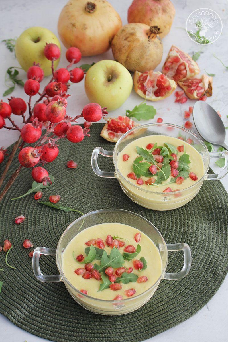 Vichyssoise de manzana con rúcula y granada
