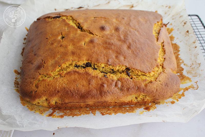 Bizcocho de calaba con chocolate y aceite de oliva virgen extra