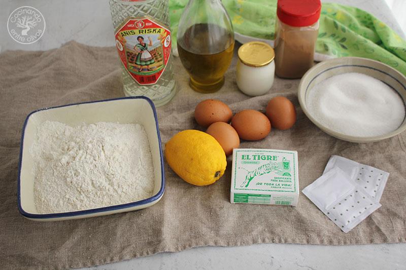 Magdalenas con yogur, aceite de oliva virgen extra y anis