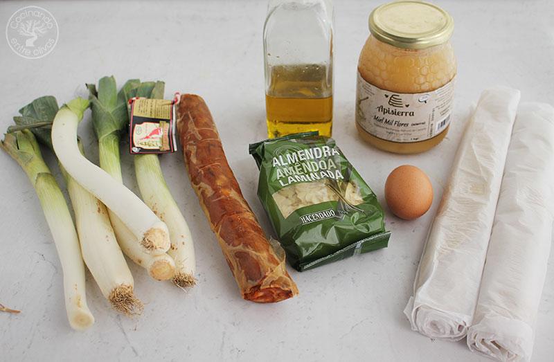 Empanada de puerros con sobrasada y miel