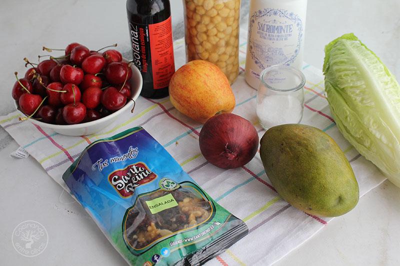 Ensalada de garbanzos con cerezas y vinagreta de mango Ingredientes