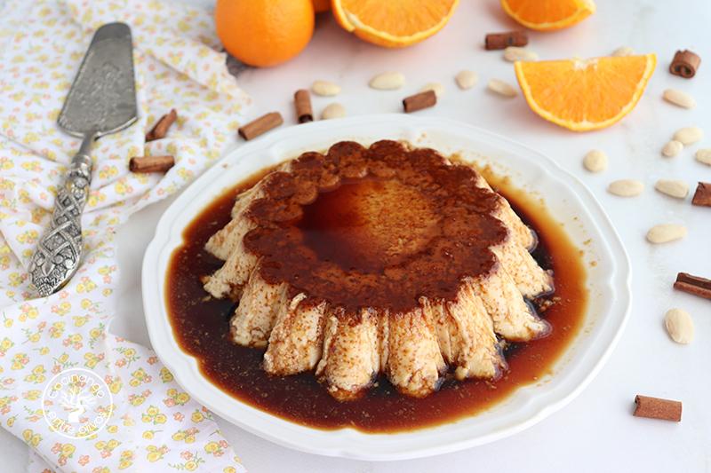 Flan de almendra, naranja y pan