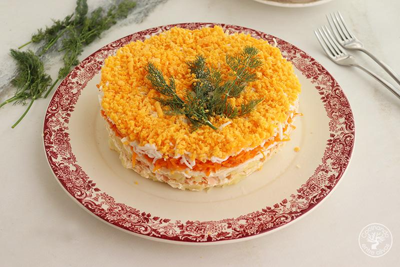 Tarta salada mimosa